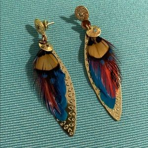 Gas Bijoux feather and gold lotus pedal earrings